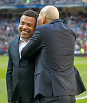 Real Madrid's legends Ronaldo Nazario and Zinedine Zidane during La Liga match. January 7,2016. (ALTERPHOTOS/Acero)