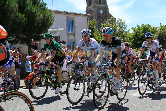 The pelethon including AG2R La Mondiale's Nicolas Roche (IRL) pass through the town of Vaire during the 3rd Stage of the 2011 Tour de France, 198k from Olonne-sur-Mere to Redon, 4th July 2011 (Photo by Eoin Clarke/NEWSFILE)