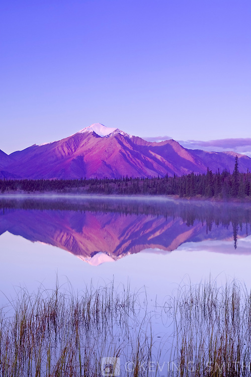 Mountain reflected in Drasher Lake  at sunrise, Denali Highway, fall Alaska, USA