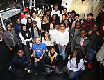 Nik Walker with High School Students backstage during the #EduHam at the Richard Rodgers Theatre on November 15, 2017 in New York City.