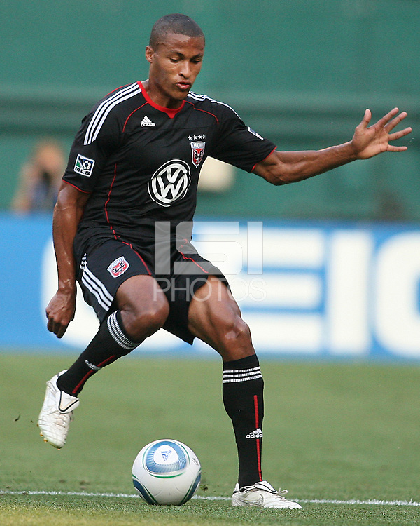 Jordan Graye #16 of D.C. United during an Open Cup match against Real Salt Lake at RFK Stadium, on June 2 2010 in Washington DC. DC United won 2-1.
