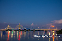 63895-15319 Clark Bridge at dusk-night over Mississippi River and full moon Alton, IL