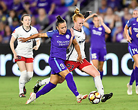 Orlando, FL - Saturday July 07, 2018: Camila Martins Pereira, Tori Huster during the second half of a regular season National Women's Soccer League (NWSL) match between the Orlando Pride and the Washington Spirit at Orlando City Stadium. Orlando defeated Washington 2-1.