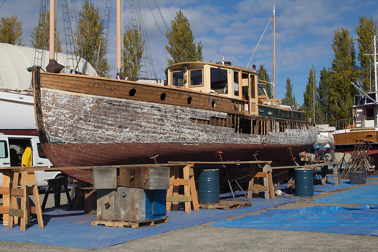 Port Townsend, yaght, Sea Lass, restoring a wooden boat, on the hard, Boat Haven, boatyard, Port of Port Townsend, Jefferson County, Olympic Peninsula, Washington State, Pacific Northwest, USA,