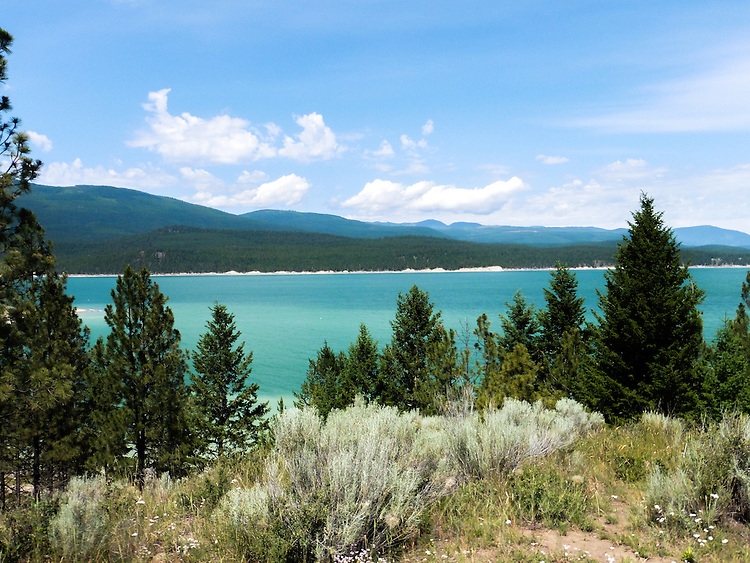 Light plays with the cool blue waters of Lake Koocanusa in Montana making it appear shades of blues and greens. Sage sets off the colors