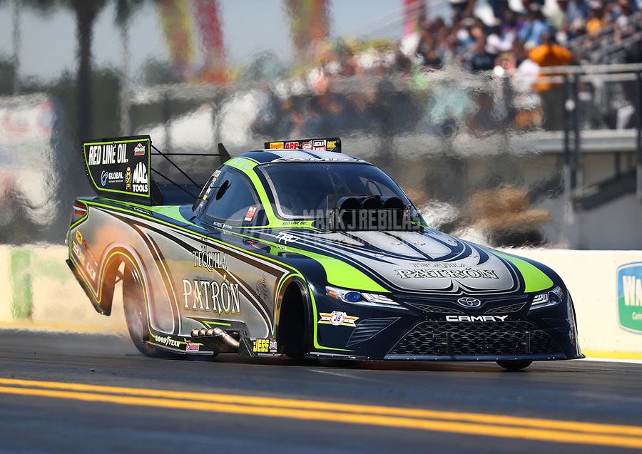 Mar 17, 2017; Gainesville , FL, USA; NHRA funny car driver Alexis DeJoria during qualifying for the Gatornationals at Gainesville Raceway. Mandatory Credit: Mark J. Rebilas-USA TODAY Sports