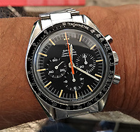 BNPS.co.uk (01202 558833)<br /> Pic: GardinerHoulgate/BNPS<br /> <br /> Lucky man...Roger's rare Speedmaster<br /> <br /> £40,000 Antiques Roadshow suprise find heads for auction...<br /> <br /> An extremely rare watch a British seaman bought for £35 as a 21st birthday present in the Far East is now tipped to sell for a whopping £40,000.<br /> <br /> There were only 50 red hand 'Ultraman' Speedmasters ever made, and unknown to Roger he had bought one nearly 50 years ago.<br /> <br /> Now retired, Roger Cooper(71) acquired the Omega Speedmaster new while serving in the Merchant Navy on the steamer 'Chitral' in Hong Kong in 1968.<br /> <br /> He spent £35, almost a month's wage at the time, on the timepiece, buying it from a wholesaler he had become friendly with. But it has proved a shrewd investment as it has increased over 1,000 times in value in the intervening five decades.<br /> <br /> Grandfather of two Mr Cooper, from Havant, Hants, has now decided to auction it with Gardiner Houlgate, of Corsham, Wilts.