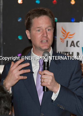 "NICK CLEGG.on the election campaign, Brixton, South London_03/05/2010.Mandatory Credit Photo: ©DIAS-NEWSPIX INTERNATIONAL..**ALL FEES PAYABLE TO: ""NEWSPIX INTERNATIONAL""**..IMMEDIATE CONFIRMATION OF USAGE REQUIRED:.Newspix International, 31 Chinnery Hill, Bishop's Stortford, ENGLAND CM23 3PS.Tel:+441279 324672  ; Fax: +441279656877.Mobile:  07775681153.e-mail: info@newspixinternational.co.uk"