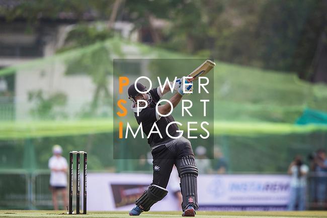 Shanan Stewart of New Zealand Kiwis hits a shot during Day 1 of Hong Kong Cricket World Sixes 2017 Group B match between New Zealand Kiwis vs Bangladesh at Kowloon Cricket Club on 28 October 2017, in Hong Kong, China. Photo by Vivek Prakash / Power Sport Images