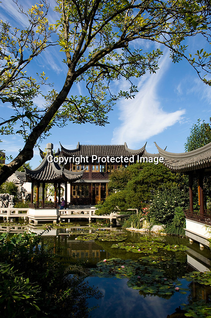 The Portland Classical Chinese Garden in the Chinatown district of Portland, OR