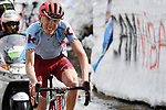 Ilnur Zakarin (RUS) Team Katusha Alpecin on his way to victory through the snowbanks towards the finish of Stage 13 of the 2019 Giro d'Italia, running 196km from Pinerolo to Ceresole Reale (Lago Serrù), Italy. 24th May 2019<br /> Picture: Fabio Ferrari/LaPresse | Cyclefile<br /> <br /> All photos usage must carry mandatory copyright credit (© Cyclefile | Fabio Ferrari/LaPresse)