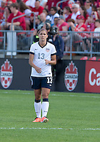 02 June 2013: U.S Women's National Soccer Team forward Alex Morgan #13 in action during an International Friendly soccer match between the U.S. Women's National Soccer Team and the Canadian Women's National Soccer Team at BMO Field in Toronto, Ontario.<br /> The U.S. Women's National Team Won 3-0.