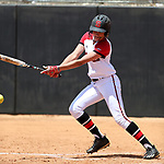 RALEIGH, NC - MAY 07: NC State's Jade Caraway gets a hit. The North Carolina State University Wolfpack hosted the University of Louisville Cardinals on May 7, 2017, at Dail Softball Stadium in Raleigh, NC in a Division I College Softball game. Louisville won the game 7-0.