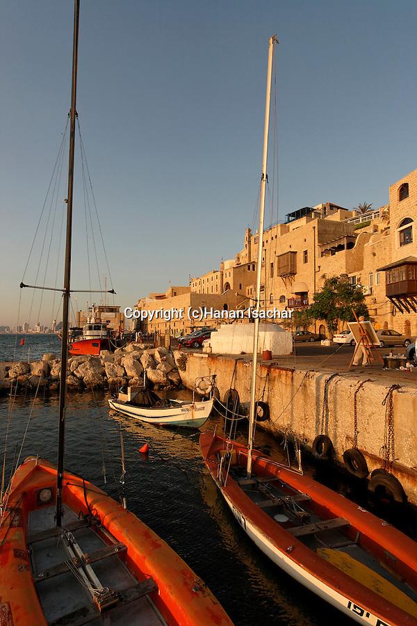 Israel, Tel Aviv-Yafo. Boats in old Jaffa's port