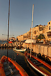 Israel, Tel Aviv-Yafo. Boats in old Jaffa's port