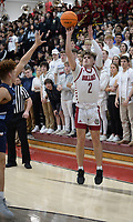 Springdale's JP Hignite (2) takes a 3-point shot Saturday, Feb. 8, 2020, during the first half of play against Har-Ber in Bulldog Arena in Springdale. Visit nwaonline.com/prepbball/ for a gallery from the games.<br /> (NWA Democrat-Gazette/Andy Shupe)