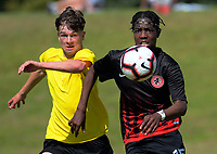 Action from the 2018 New Zealand Age Group Football Championships Under-16 Boys match between Mainland (black tops) and Capital at Memorial Park in Petone, Wellington, New Zealand on Wednesday, 12 December 2018. Photo: Dave Lintott / lintottphoto.co.nz