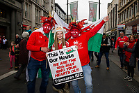 Pictured: Wales fans during the Guinness six nations match between Wales and England at the Principality Stadium, Cardiff, Wales, UK.<br /> Saturday 23 February 2019