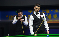 31st October 2019, Yushan, Jiangxi Province, China;  Ding Junhui of China and Michael Holt of England compete during the round of 16 match at 2019 Snooker World Open in Yushan