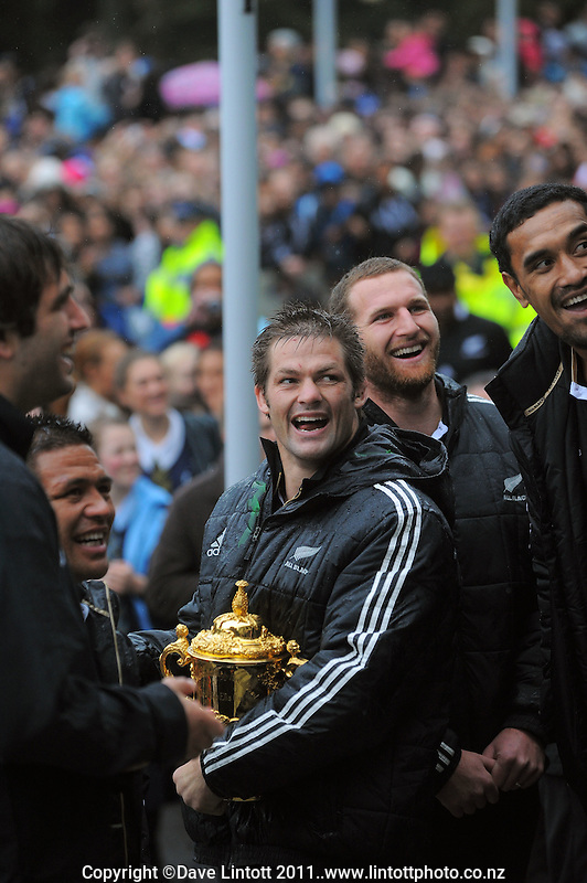 All Blacks captain Richie McCaw and his teammates share a laugh during the New Zealand All Blacks 2011 IRB RWC celebration parade in Wellington, New Zealand on Wednesday, 26 October 2011. Photo: Dave Lintott / lintottphoto.co.nz