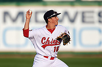 Peoria Chiefs shortstop Tommy Edman (16) throws to first base during a game against the West Michigan Whitecaps on May 8, 2017 at Dozer Park in Peoria, Illinois.  West Michigan defeated Peoria 7-2.  (Mike Janes/Four Seam Images)
