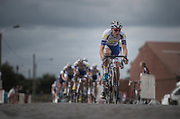 Team Topsport Vlaanderen-Baloise leading the chase over the cobbles<br /> <br /> 101st Kampioenschap van Vlaanderen 2016 (UCI 1.1)<br /> Koolskamp &rsaquo; Koolskamp (192.4km)