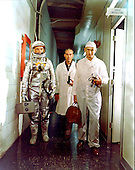 From left, John H. Glenn Jr., Bill Douglas and Joe Schmitt, on way to launch pad for MA-6 launch at Cape Canaveral, Florida on February 20, 1962..Credit: NASA via CNP