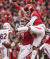 Hawgs Illustrated/BEN GOFF <br /> Briston Guidry (7), Arkansas defensive end, and Kamren Curl, Arkansas cornerback, celebrate after Guidry recovered a Mississippi State fumble for a touchdown in the first quarter Saturday, Nov. 18, 2017, at Reynolds Razorback Stadium in Fayetteville.