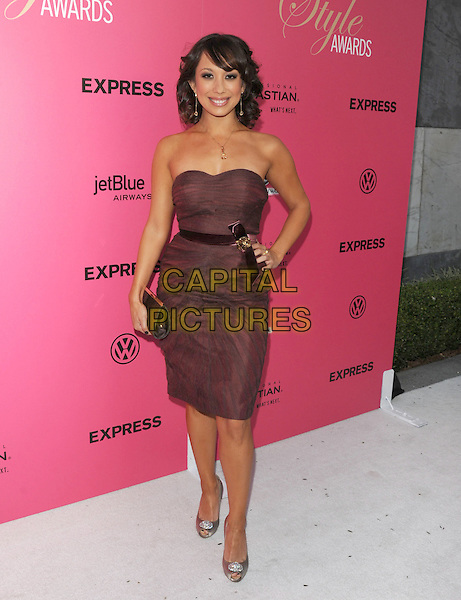 CHERYL BURKE .at The 6th Annual Hollywood Style Awards held at The Armand Hammer Museum in Los Angeles, California, USA, October 11th 2009                                                                   full length strapless brown dress hand on hip peep toe shoes clutch bag .CAP/DVS.©DVS/RockinExposures/Capital Pictures.