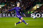 5th December 2017; Glasgow, Scotland; Lukasz Teodorczyk forward of RSC Anderlecht gets his shot on goal during the Champions League Group B match between Celtic FC and Rsc Anderlecht