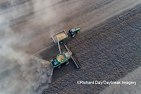 63801-13605 Harvesting soybeans and unloading into grain cart in fall-aerial  Marion Co. IL