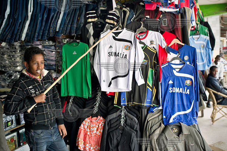 Football shirts for sale at a market in Eastleigh, a neighbourhood in Nairobi, also known as 'little Mogadishu' where most residents are from Somalia.