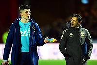 Leeds United's Illan Meslier chats to goalkeeping coach Marcos Abad Peidro<br /> <br /> Photographer Richard Martin-Roberts /CameraSport<br /> <br /> The EFL Sky Bet Championship - Brentford v Leeds United - Tuesday 11th February 2020 - Griffin Park - Brentford<br /> <br /> World Copyright © 2020 CameraSport. All rights reserved. 43 Linden Ave. Countesthorpe. Leicester. England. LE8 5PG - Tel: +44 (0) 116 277 4147 - admin@camerasport.com - www.camerasport.com