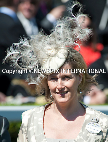 """Sophie, Countess of Wessex.on the second day of Royal Ascot 2010, Ascot, Berkshire_16/06/2010.Mandatory Photo Credit: ©Dias/Newspix International..**ALL FEES PAYABLE TO: """"NEWSPIX INTERNATIONAL""""**..PHOTO CREDIT MANDATORY!!: NEWSPIX INTERNATIONAL(Failure to credit will incur a surcharge of 100% of reproduction fees)..IMMEDIATE CONFIRMATION OF USAGE REQUIRED:.Newspix International, 31 Chinnery Hill, Bishop's Stortford, ENGLAND CM23 3PS.Tel:+441279 324672  ; Fax: +441279656877.Mobile:  0777568 1153.e-mail: info@newspixinternational.co.uk"""