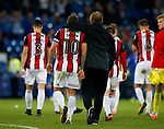 Billy Sharp of Sheffield Utd and Chris Wilder manager of Sheffield Utd walk off during the Championship match at the Cardiff City Stadium, Cardiff. Picture date: August 15th 2017. Picture credit should read: Simon Bellis/Sportimage