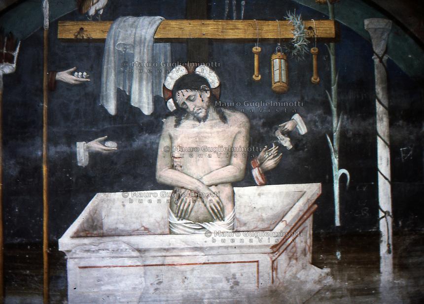 S.Antonio di Ranverso abbazia cistercense<br /> affresco di Jaquerio raffigurante Gesu' Cristo St. Anthony of Ranverso Cistercian abbey Saint Antoine de Ranverso abbaye cistercienne<br /> fresque repr&eacute;sentant le Christ J&eacute;sus de Jaquerio