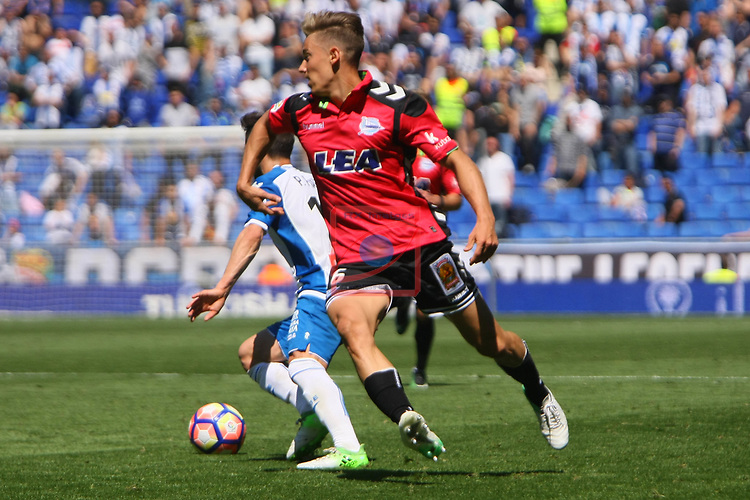 League Santander 2016/2017. Game: 31.<br /> RCD Espanyol vs Deportivo Alaves: 1-0.<br /> Pablo Piatti vs Marcos Llorente.