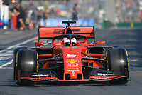 March 16, 2019: Sebastian Vettel (DEU) #5 from the Scuderia Ferrari team leaves the pit to start the qualification session at the 2019 Australian Formula One Grand Prix at Albert Park, Melbourne, Australia. Photo Sydney Low