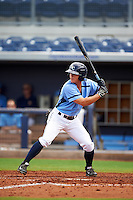 Charlotte Stone Crabs outfielder Braxton Lee (30) at bat during a game against the Dunedin Blue Jays on July 26, 2015 at Charlotte Sports Park in Port Charlotte, Florida.  Charlotte defeated Dunedin 2-1 in ten innings.  (Mike Janes/Four Seam Images)