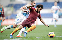 Roma&rsquo;s Mohamed Salah, right, is challenged by Napoli&rsquo;s Faouzi Ghoulam during the Italian Serie A football match between Roma and Napoli at Rome's Olympic stadium, 4 March 2017. <br /> UPDATE IMAGES PRESS/Isabella Bonotto