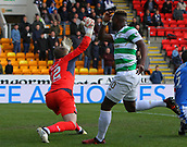 4th November 2017, McDiarmid Park, Perth, Scotland; Scottish Premiership football, St Johnstone versus Celtic; Celtic's Moussa Dembele makes it 3-0