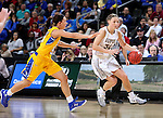 SIOUX FALLS, SD: MARCH 6: Jenna Gunn #32 from IUPUI tries to get a step past Sydney Tracy #33 from South Dakota State during the Summit League Basketball Championship on March 6, 2017 at the Denny Sanford Premier Center in Sioux Falls, SD. (Photo by Dave Eggen/Inertia)