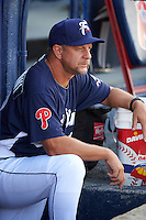 Reading Fightin Phils coach Mickey Morandini (12) before a game against the New Britain Rock Cats on August 7, 2015 at FirstEnergy Stadium in Reading, Pennsylvania.  Reading defeated New Britain 4-3 in ten innings.  (Mike Janes/Four Seam Images)