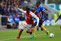 Devante Cole of Fleetwood Town loses the ball during the Sky Bet League 1 match between Shrewsbury Town and Fleetwood Town at Greenhous Meadow, Shrewsbury, England on 21 October 2017. Photo by Leila Coker / PRiME Media Images.