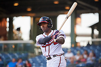 Mississippi Braves left fielder Travis Demeritte (18) on deck during a game against the Mobile BayBears on May 7, 2018 at Trustmark park in Pearl, Mississippi.  Mobile defeated Mississippi 5-0.  (Mike Janes/Four Seam Images)