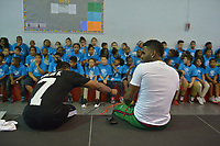 "HOLLYWOOD, FL - MARCH 12: Jason Derulo (R) joined choreographer Jeremy Strong Teaching Youth Choreography to Jason Derulo New Single ""Colors"" at Marti Huizenga Club_ Boys & Girls Club of Broward County on March 12, 2018 in Hollywood, Florida. Footage from the lesson will be used in the official ""Colors"" lyric video. Following the group performance, Derulo host a Q&A with the club's youth answer questions about his upbringing, career, and more.  Credit: MPI10 / MediaPunch"