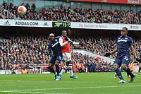 Issa Diop of West Ham United clears a cross during Arsenal vs West Ham United, Premier League Football at the Emirates Stadium on 7th March 2020
