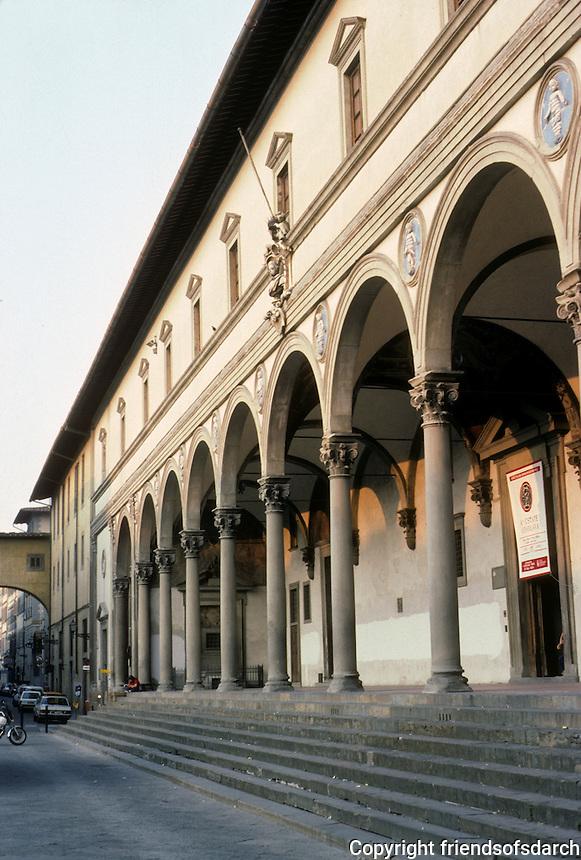 Florence: Piazza Annunziata Foundling Hospital. Filippo Brunelleschi (1377-1446), 1419.