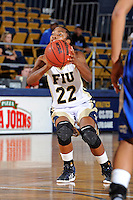 12 January 2012:  FIU guard Jerica Coley (22) prepares to shoot in the second half as the Middle Tennessee State University Blue Raiders defeated the FIU Golden Panthers, 74-60, at the U.S. Century Bank Arena in Miami, Florida.