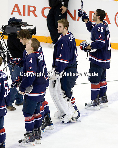 Matt Donovan (USA - 4), Cam Fowler (USA - 24), Jack Campbell (USA - 1), Jerry D'Amigo (USA - 29) - Team USA defeated Team Sweden 5-2 in the semi-final on Sunday, January 3, 2010, at the Credit Union Centre in Saskatoon, Saskatchewan, during the 2010 World Juniors tournament.